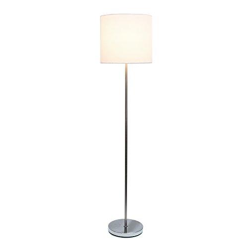Simple Designs Home LF2004-WHT Brushed Nickel Drum Shade Floor Lamp, White Brushed Nickel Drum Shade Floor Lamp, 13.25' x 13.25' x 58.25', White