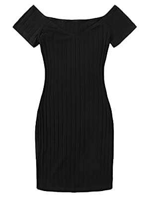 Rib knit fabric has slight stretch, comfortable to wear Off the shoulder, short sleeve, above knee length, pencil bodycon tee dress Perfect for spring and summer season, suitable for occasions like casual outing, parties, dating and daily wear Hand w...