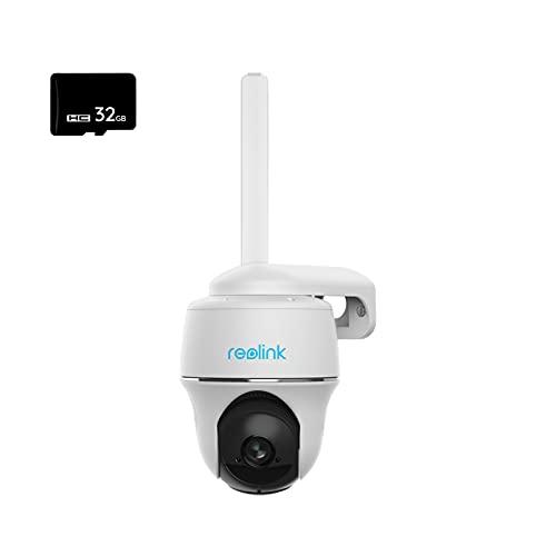 Reolink Telecamera Sicurezza 4G Sim Esterno a Batteria Ricaricabile, 1080P Solare Camera Senza Fili con 355°/140° Pan & Tilt Visione Notturna Starlight Time Lapse, 32GB Micro SD Card, Reolink Go PT