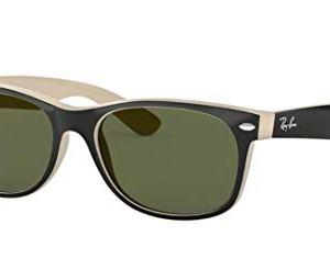 Ray-Ban RB2132 New Wayfarer Sunglasses Shiny Black/Beige (875) RB 2132 55mm 16