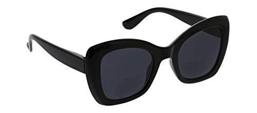 Peepers by PeeperSpecs Women's Mariposa Bifocal Cat-Eye Reading Sunglasses, Black, 49 mm + 3