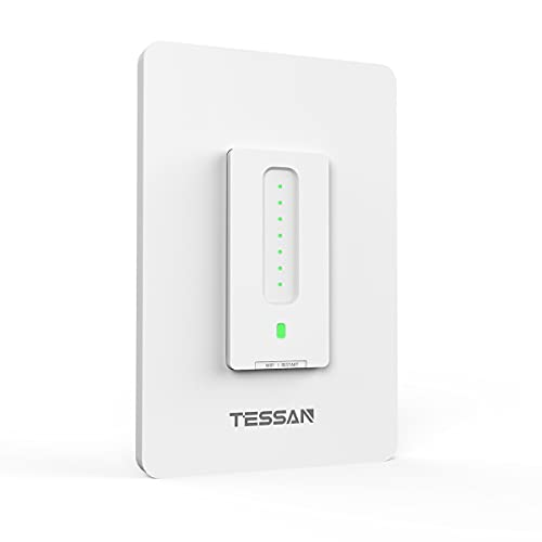 3 Way Smart Dimmer Switch, TESSAN WiFi Dimmable Light Switch Works with Regular 3 Way 4 Way Switch, Compatible with Alexa and Google Home, Neutral Wire Needed