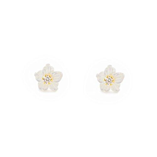 Boucles d'Oreilles Enfant nacre fleur Or Jaune 18 Carats
