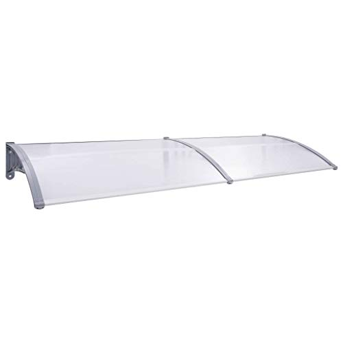 vidaXL Marquesina para puerta PC gris y transparente 300x80 cm