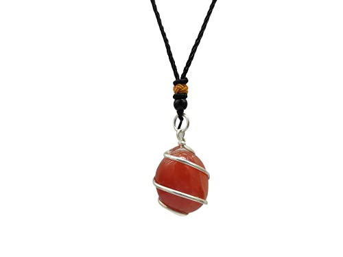 Carnelian Crystal Necklace with Spiral Carnelian Stone...