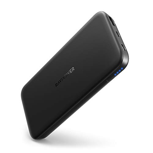 RAVPOWER USB C Power Bank 10000mAh Caricabatterie Portatile con Power Delivery 18W, Quick Charge 3.0 Batteria Esterna per iPhone XS/XS Max/XR/11 Huawei Samsung