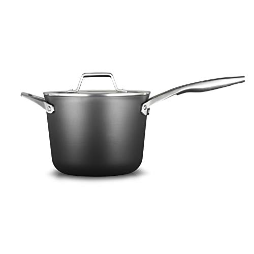Calphalon 2029648 Premier Hard-Anodized Nonstick 4.5-Quart Saucepan with Cover, Black