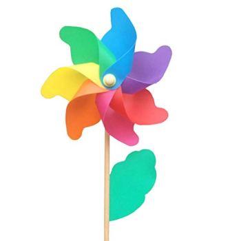 1 pièces, moulins à Vent en Manche en Bois, Rotatif colorés, Cadeaux pour Les Enfants à Jouer, ou comme Une décoration délicate pour Les Jardins d'enfants, Les Jardins, Les fêtes ou Les vitrines S
