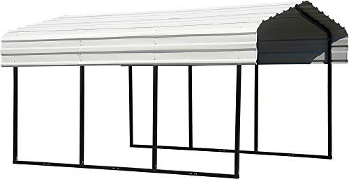 Arrow 10' x 15' x 7' 29-Gauge Carport with Galvanized Steel Roof Panels, 10' x 15' x 7', Eggshell