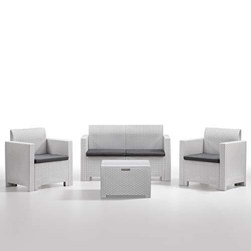 BICA 9067 Set Nebraska Salottino 4 Posti, Bianco, 281 x 155 x 79 cm