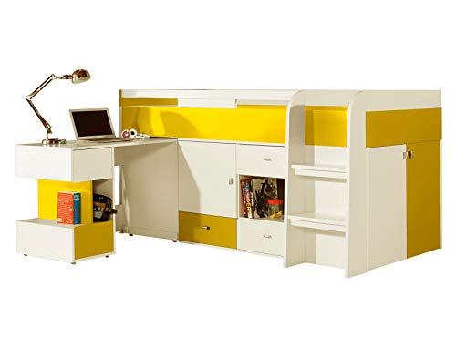 Furniture24 Multifunktionsbett mit ausziehbarem Schreibtisch Etagenbett Hochbett Bett MOBI MO21 mit Federkernmatratze, Kommode und Schrank (Weiß/Gelb)