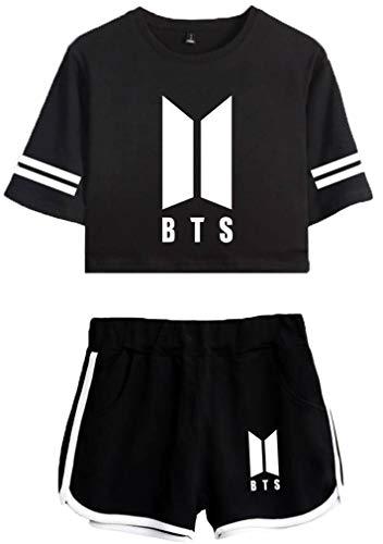 Leslady Chándales Deportiva con Impresa Tear de BTS Camiseta y Pantalones Cortos para Mujer