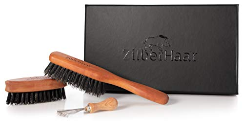 ZilberHaar, set di pennelli da barba con setole morbide, spazzola da barba con setole morbide, spazzola da barba tascabile, con spazzola per la pulizia