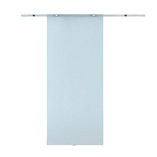 HOMCOM Porta Scorrevole Interna in Vetro Smerigliato con Binario B3 in Alluminio per Bagno Cucina...