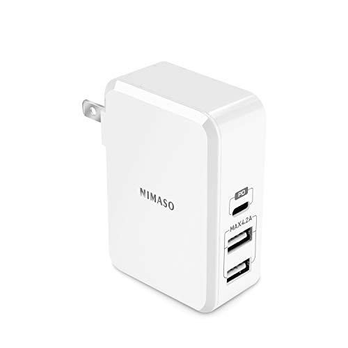 Nimaso PD 3.0-1 USB Type C & 2 USB-A 充電器 【Power Delivery対応 45W 3ポート USB-C急速充電器】 折畳...