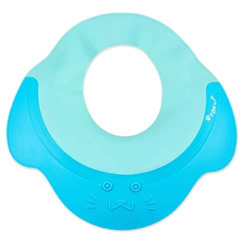 Shampoo Schutz für Babys, Haare waschen ohne Tränen, für 0-9 Jahre zum Überstülpen, 100{686e97be65e1711fac3ba4fef192a14ff00f6ef857e609ec85e6b2e1053c6a0c} wasserdicht I weiche Silikonhaut, Augenschutz und Ohrenschutz, Haarwaschhilfe, Kinder Duschkappe, blau