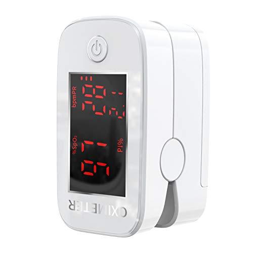 Pulsossimetro, Saturimetro da Dito, Misurazione Precisa Dell'Indice di Perfusione, Ossigeno nel Sangue, Frequenza Cardiaca, Saturimetro da Dito Professionale Bambini e Adulti con Schermo a LED