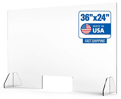 Protective Sneeze Guard for Counter and Desk - Freestanding Clear Acrylic Shield for Business and Customer Safety, Portable Plexiglass Barrier, Food Screen, Pass Through Transaction Window, 36' x 24'