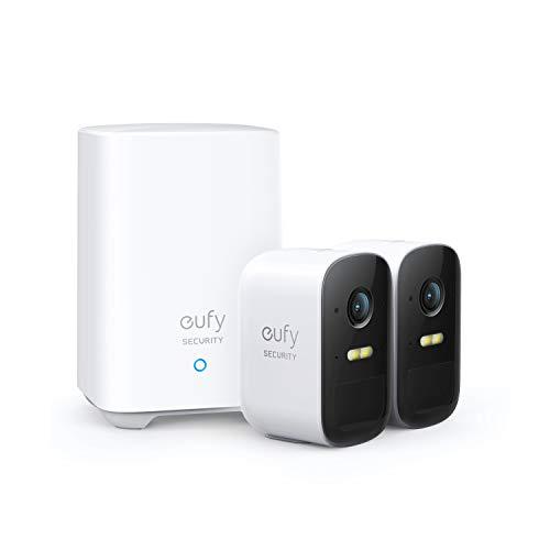 eufy Security eufyCam 2C Caméra de sécurité sans Fil - Base + 2 caméra avec autonomie de 180 Jours, vidéo HD 1080p, étanchéité IP67, Vision Nocturne, sans Charges Sensuelles (Stockage Local)