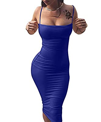 Features:sexy,spaghetti strap,backless,sleeveless,bodycon,midi,tight,strapless,solid,elegant,polyster,slim,laces could be adjustable Suitable for:night club,cocktail party and clubwear Material:this item is high stretchy Size:S=USA 4-6;M=8-10;L=12-14...