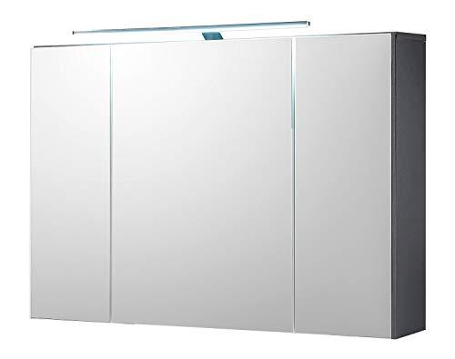 Home4You Badezimmerschrank Spiegelschrank | Grau | Türen | LED-Beleuchtung | Steckdose | Lichtschalter