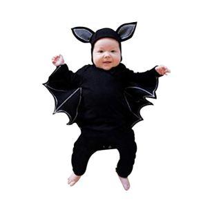 Disfraz Halloween Niña Niño Bebe Recién Nacido Monos de Manga murciélago Tops con Sombrero de Oreja Juego de rol de…