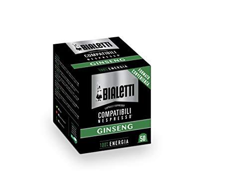 Bialetti Ginseng, 50 Capsule compatibili Nespresso, capsule Nespresso al Ginseng, cialde compatibili nespresso, Formato convenienza, gusto Ginseng caffè Nespresso compatibile, Capsule salva aroma