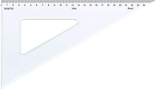 Esquadro 60° de 26 cm em Acrílico Cristal com Escala 1626, Trident, Incolor