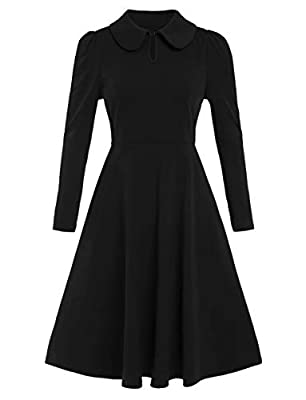 """Fabric: very stretchy, soft touched Stand collared, baby doll collar, keyhole in front, slim fitted waist, flared bottom, swing hem, A line Style: classic dress, wear to work dress, elegant dress, cocktail party dress, Rockabilly Prom XS-Bust:34.45""""/..."""