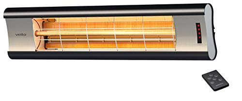 veito Aero S Elektro-Infrarot-Heizstrahler | Karbon (Carbon) | Terrassenstrahler | Wärmestrahler | 2500 Watt | elektrisch | mit Fernbedienung | IP44 | Infrarotheizstrahler dimmbar | Terassenstrahler