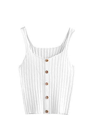Material: 95%cotton, 5%spandex, fabric is very comfy and has a little stretch Features:button front, scoop neckline, sleeveless, ribbed, slightly cropped length Simple looks but easy to pair, make your body look sexy Great for summer as casual or lou...