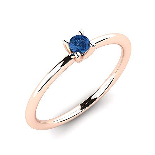 Anillo Deidre Solitaire de oro rosa 375 con zafiro azul AAA de 0,10 ct como anillo de compromiso perfecto - Anillo de propuesta premium para compromiso o como regalo para mujeres