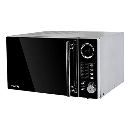H.Koenig Four Micro-Ondes VIO9 Grill 2 en 1, 25 L, Plateau tournant 27cm, 10 modes de cuisson jusqu'à 1000W, Décongélation, Cuisson combinée, écran LCD