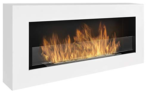 Nice-House Bio Fireplace Box 90 x 40 cm with Glass Panel 900 x 400 mm Bio-Ethanol Fireplace Wall Fireplace White A box-shaped bio-fireplace for hanging on the wall.