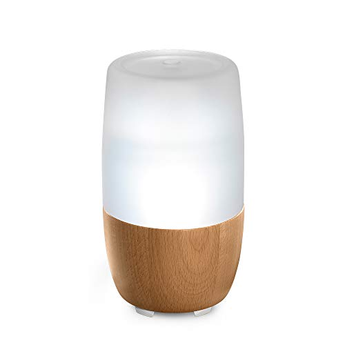 Ellia Reflect Ultrasonic Essential Oil Diffuser with 3 Oil Samples, 7 Hours Continuous Runtime, Mood Light, Sounds and Remote - 150mL, Clear