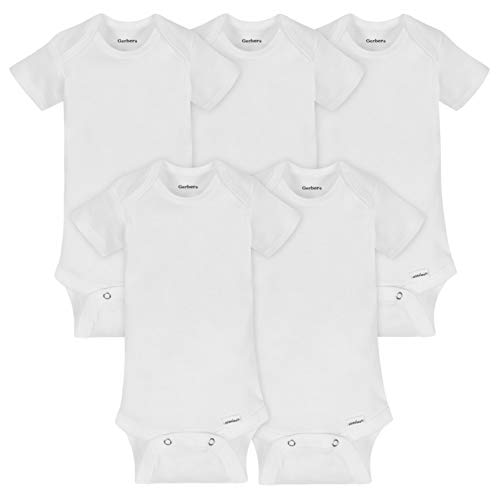 Gerber Baby 5-Pack Organic Short Sleeve Onesies Bodysuits, white...