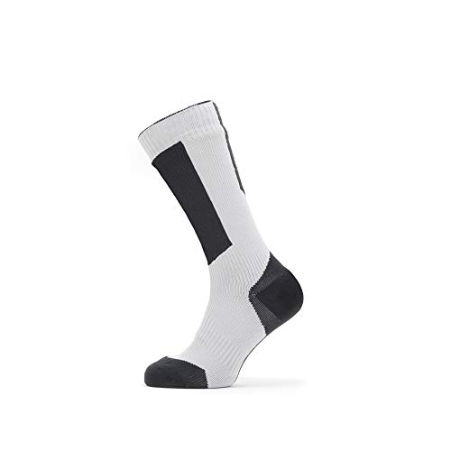 Seal Skinz Waterproof Cold Weather Mid Length Sock with Hydrostop, Calzini Unisex per Adulti, Grigio/Nero/Giallo, S