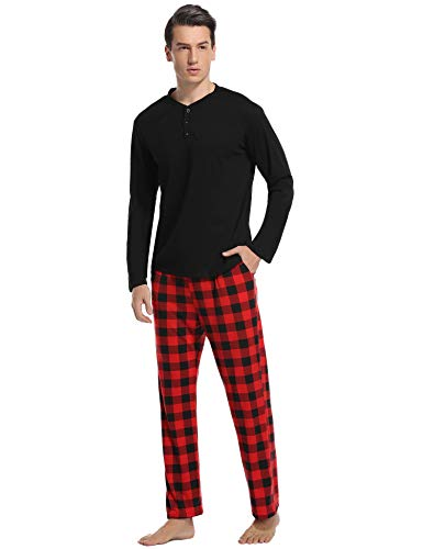 Vlazom Men's Pajama Sets Long Sleeve Top and Plaid Fleece Pants for Men Sleepwear PJs S-XXL