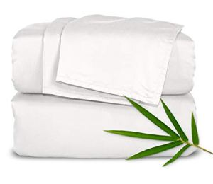 Pure Bamboo Sheets - King Size Bed Sheets 4pc Set - 100% Organic Bamboo - Incredibly Soft Breathable Fabric - Fits Up to 16' Mattress - 1 Fitted Sheet, 1 Flat Sheet, 2 Pillowcases (King, White)