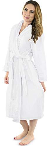 NY Threads Womens Fleece Bathrobe – Shawl Collar Soft Plush Spa Robe