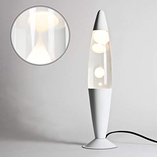 Rein Weiße Lavalampe Flüssigkeit klar H:36cm Moderne Lavaleuchte Timmy Wohnzimmer Schlafzimmer