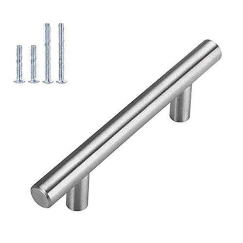 Brushed Nickel Cabinet Hardware Kitchen Cabinet Pulls 15 Pack -Homdiy HD201SN 3-3/4 in Hole Centers T Bar Cupboard...