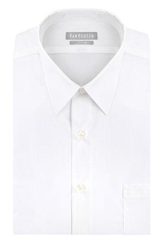 Van Heusen Men's Poplin Fitted Solid Point Collar Dress Shirt, White, 15' Neck 32'-33' Sleeve