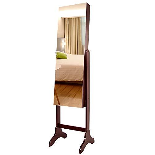 Ezigoo Specchio Portagioie con Supporto Regolabile - Marrone Armadio Specchio a Figura Intera