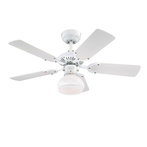 78704 Ventilatore da soffitto Princess Radiance II 90 cm bianco per interni, kit di luce con cupola di vetro smerigliato...