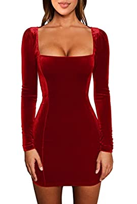 Material:velvet,stretchy,soft and comfortable feeling US size: S:4-6, M:8-10,L:12-14,XL:16-18 Long sleeve,low cut,square collar,mini length,bodycon,tight,elegant,classic Suitable for home,evening party,club,prom,cocktail,wedding,casual,shopping,beach...