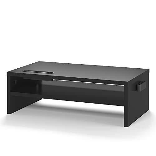 1home - Soporte de Monitor de portátil Ordenador Elevador de Monitor 2 Niveles Negro, W420 x D235 x H142mm (con Soporte para teléfono Inteligente y gestión de Cables)