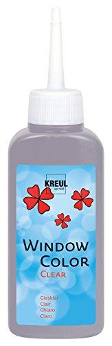 Kreul 40217 - Window Color Clear, Fenstermalfarbe auf Wasserbasis, für glatte Oberflächen wie Glas, Spiegel und Fliesen, 80 ml Malflasche, grau