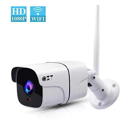 QZT Telecamera Sorveglianza WiFi Esterno IP66, HD 1080P Videocamera IP Wireless, Visione Notturna Infrarossi, Rilevazione Movimento, Audio Bidirezionale, Ethernet/WiFi Videosorveglianza App