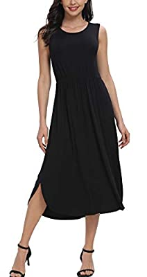 ?SUPER SOFT & STRETCHY FABRIC:This casual tank midi calf dresses makes out of rayon and spandex fabric,very soft to touch and comfortable to wear. ?SIMPLE DESIGN:This Women Summer Sleeveless Plain T Shirts Dresses is a casual style,Elegant,Rounded Ne...
